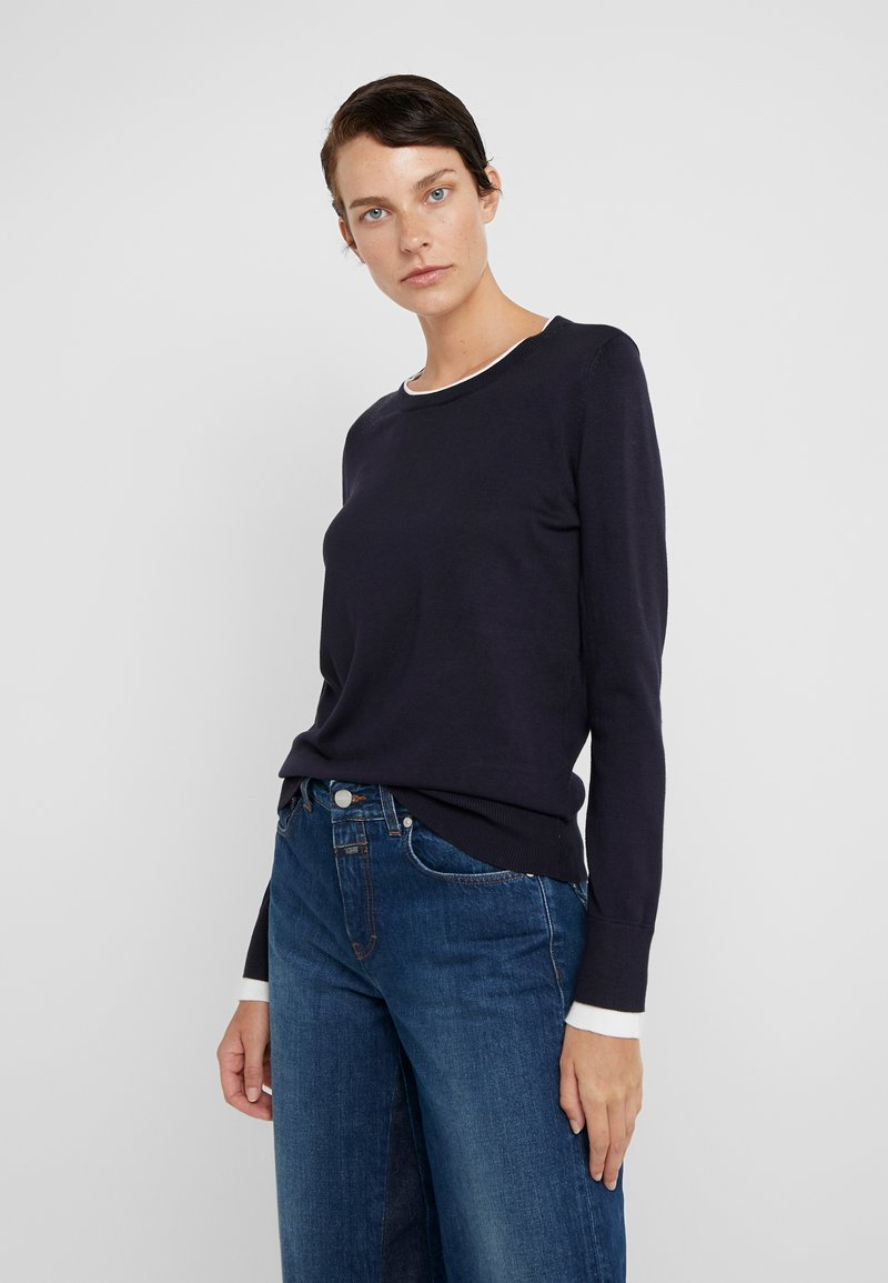 DKNY - CREW LAYERED CUFF - Jumper - new navy/ivory