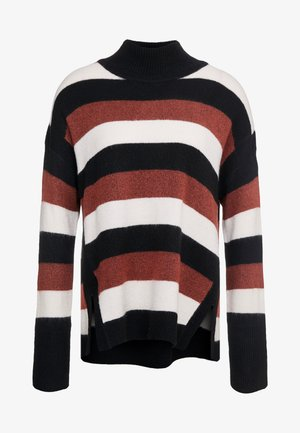STRIPED DROPPED SHOULDER T NECK - Pullover - black/bourbon/french vanilla