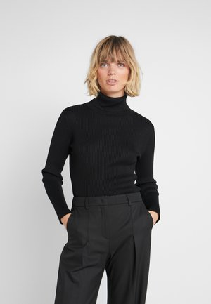 SOLID TURTLENECK - Strickpullover - black