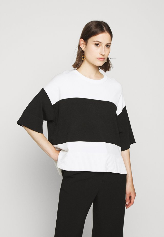 STRIPE COLORBLOCK SIDE SLITS - Printtipaita - ivory/black