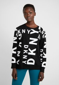 DKNY - CREW NECK SIDEWAYS LOGO - Mikina - black/white - 0