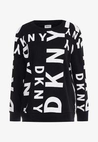 DKNY - CREW NECK SIDEWAYS LOGO - Mikina - black/white - 4