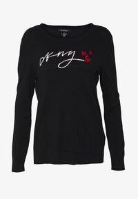 DKNY - LOGO SEQUIN HEART - Neule - black - 3