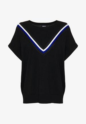 STRIPED DETAIL - T-shirt z nadrukiem - black/electric blue