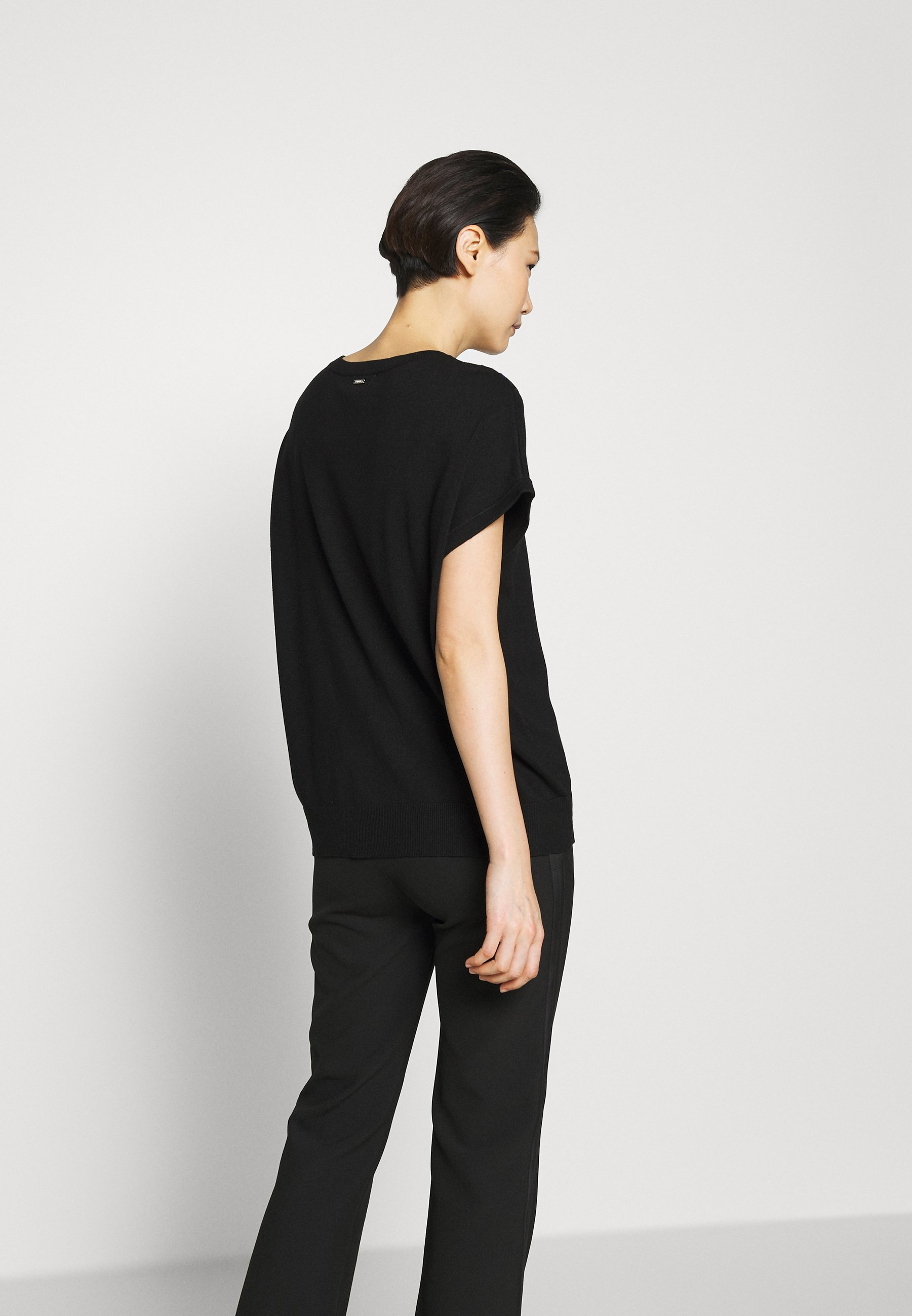 DKNY STRIPED DETAIL - T-shirts med print - black/electric blue