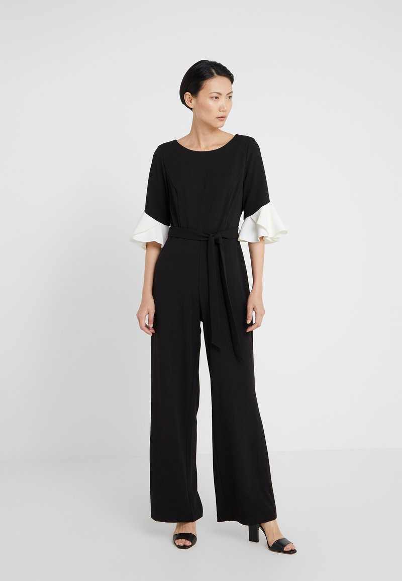 DKNY - BELL SLEEVE WITH TIE BELT - Jumpsuit - black/ivory