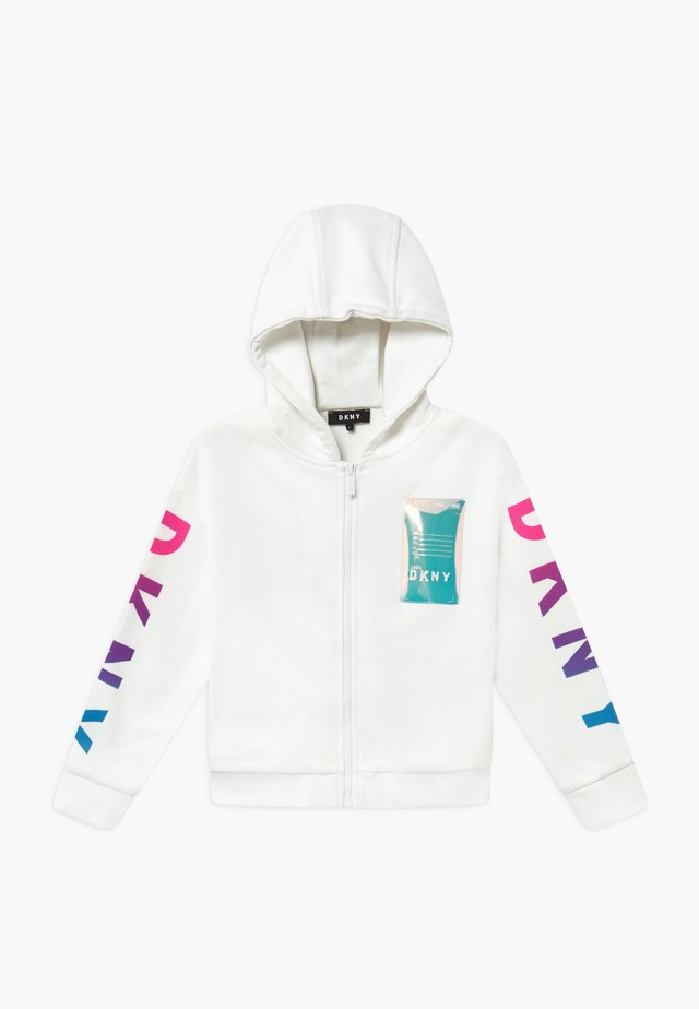 HOODED - veste en sweat zippée - white