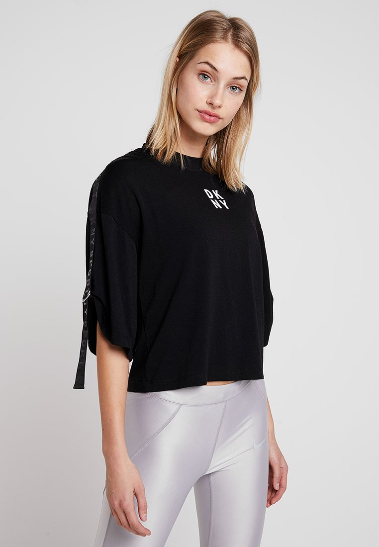 DKNY - BOXY CREW NECK SHORTSLEEVE LOGO TAPE - Long sleeved top - black