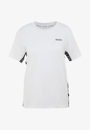 COLOR BLOCK FLIP LOGO TEE - Printtipaita - white