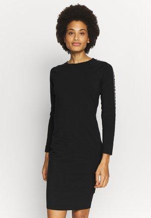 LONG SLEEVE CREW NECK DRESSW LOGO ELASTIC - Jersey dress - black