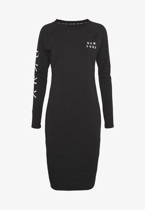 LONG SLEEVE CREW NECK DRESS - Žerzejové šaty - black