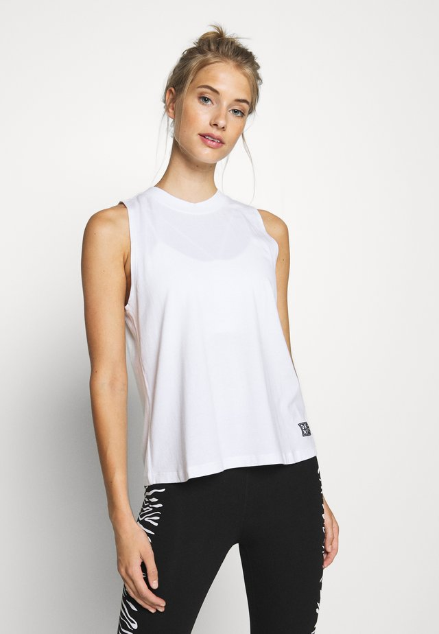CUT OFF LOGOMOCK NECK TEE - Linne - white