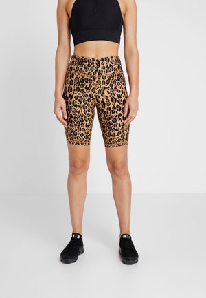 LEOPARD PRINT HIGH WAIST BIKE SHORT - Urheilushortsit - dark neutral
