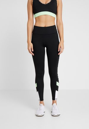 HIGH WAIST COLOR BLOCK AND LOGO PRINTING - Tights - black