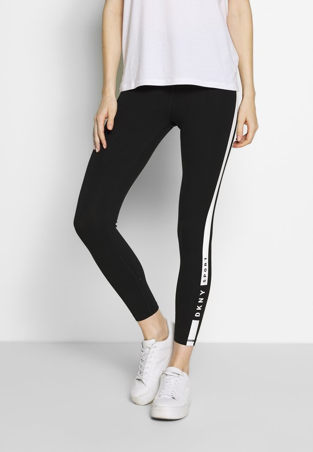 ESSENTIAL HIGH WAIST 7/8 KNOCKOUT LOGO LEGGING - Tights - black