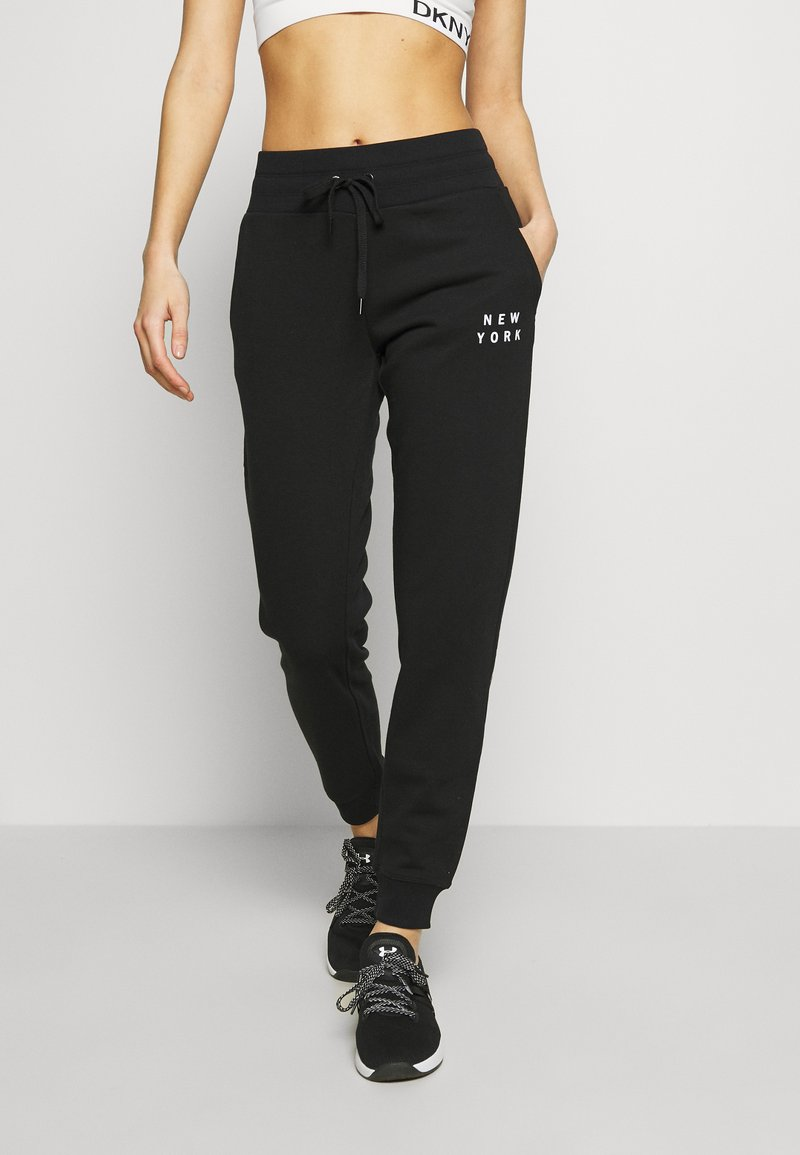 DKNY - FLOCKED SHADOW LOGOCUFFED - Joggebukse - black