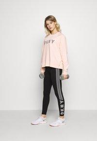 DKNY - HIGH WAIST TRACK LOGO - Leggings - black/white - 1
