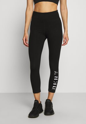 HIGH WAIST CROPPED LENGTH LOGO LEGGING - Leggings - black