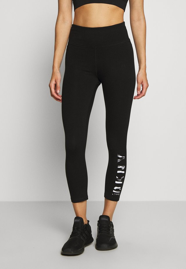 HIGH WAIST CROPPED LENGTH LOGO LEGGING - Legging - black