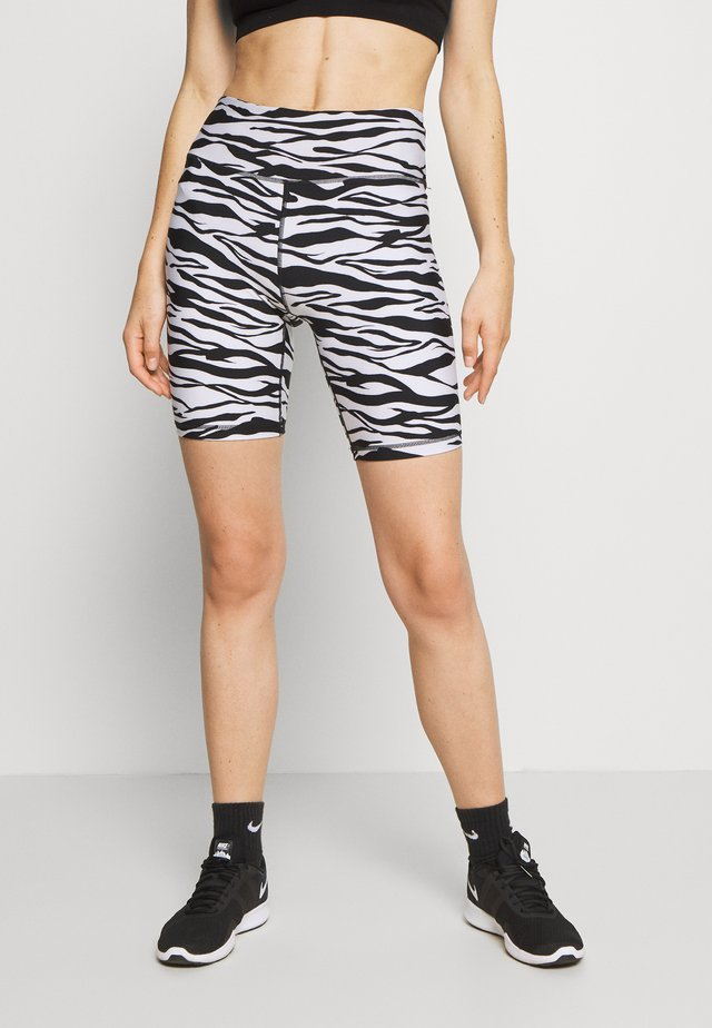 ZEBRA PRINT HIGH WAIST BIKE SHORT INSEAM - Tights - white