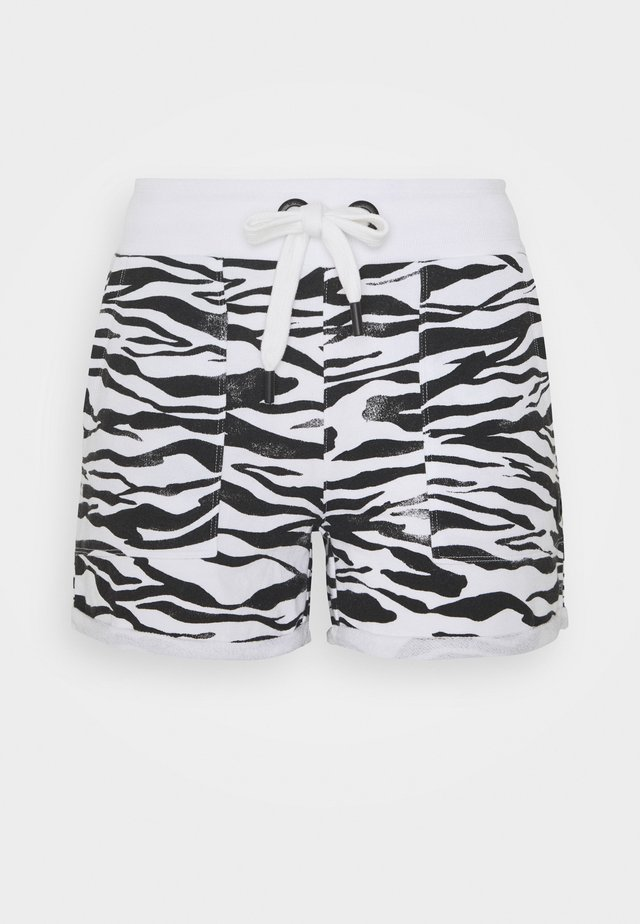 ZEBRA PRINT ROLL CUFF SHORT INSEAM - Sports shorts - white