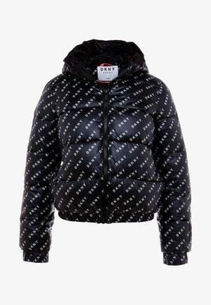 LOGO PRINTED PUFFER HOOD - Winter jacket - black/white