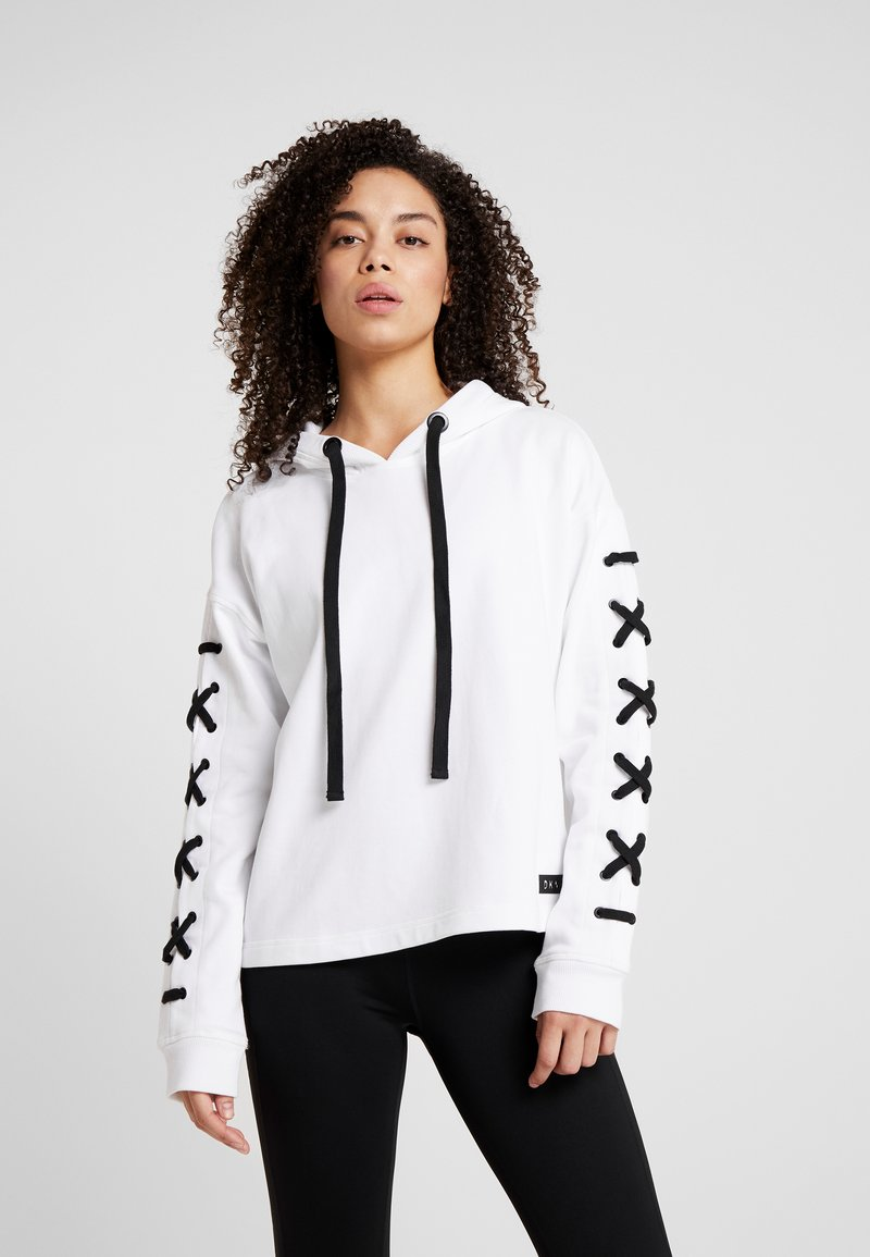DKNY - HOODED WITH LACE-UP SLEEVE - Mikina skapucí - white