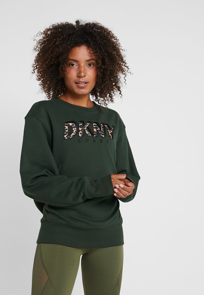 DKNY - LONGSLEEVE LEOPARD LOGO APPLIQUE - Sweatshirt - dark green