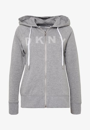 ZIP HOODIE WITH STRIPED LOGO - Mikina na zip - heather grey