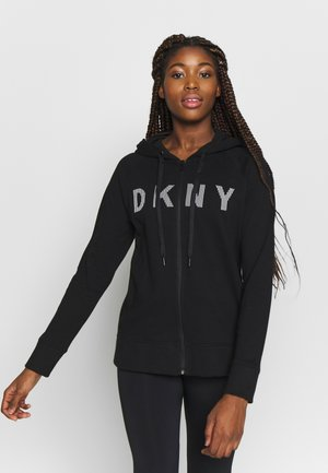ZIP HOODIE WITH STRIPED LOGO - Hettejakke - black