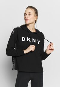 DKNY - CROPPED HOODED TAPING - Huppari - black - 0