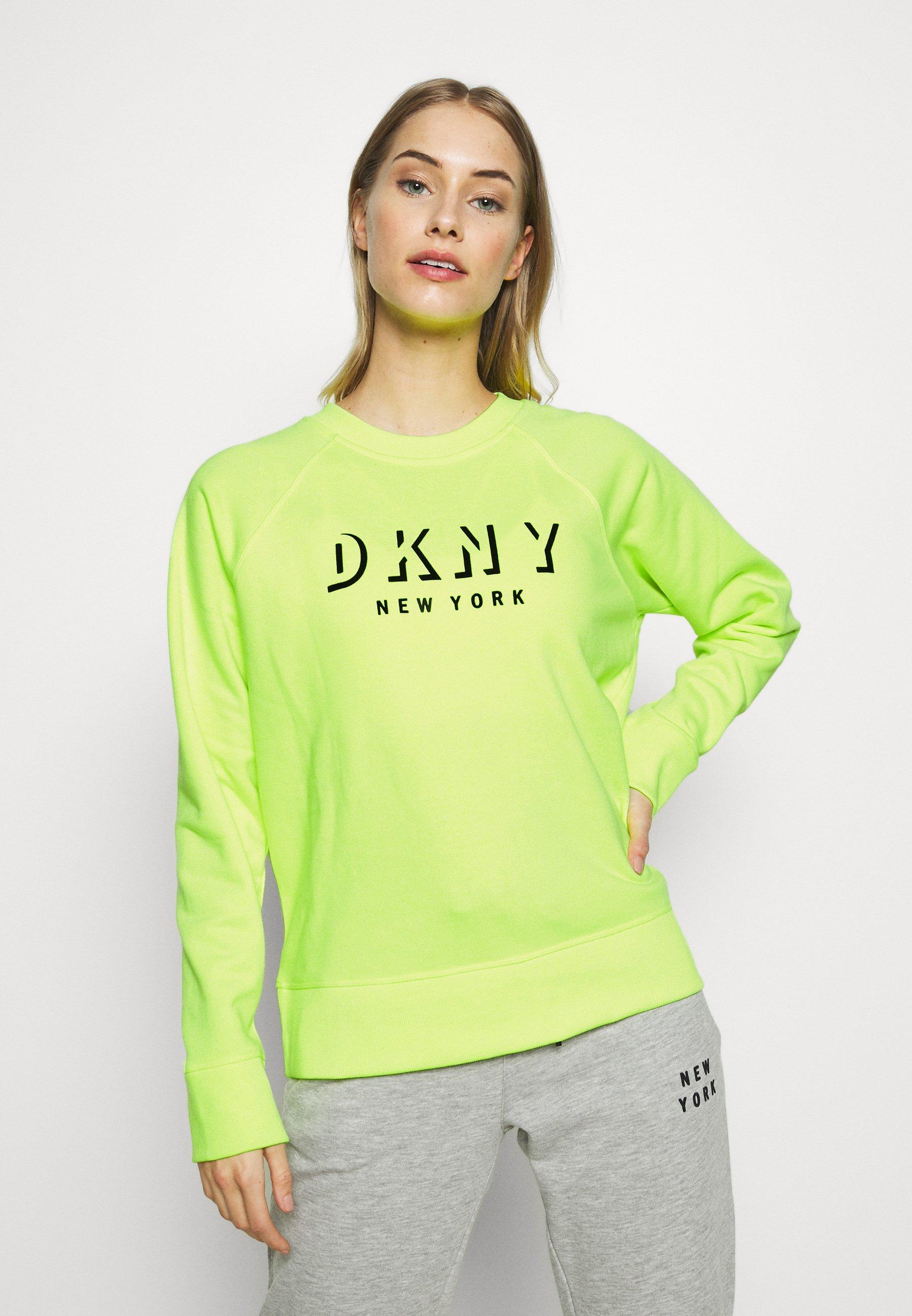 DKNY PULLOVER FLOCKED SHADOW LOGO - Bluza - zest