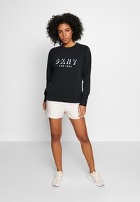 DKNY - PULLOVER FLOCKED SHADOW LOGO - Sweater - black - 1