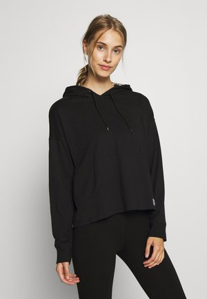 LOGO PATCH HOODIE WITH KANGA POCKET - Pitkähihainen paita - black