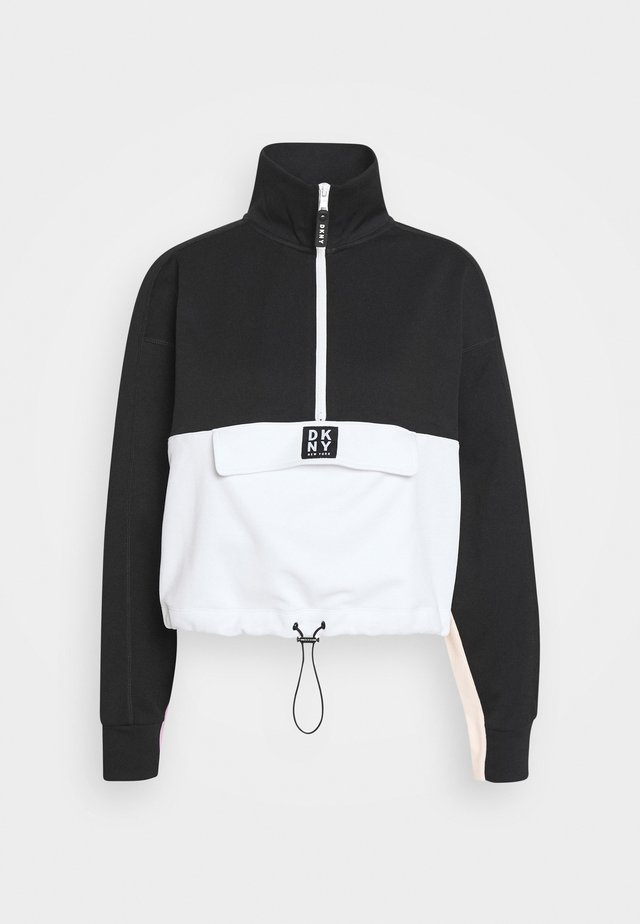BLOCKED HALF ZIP PULLOVER - Sweater - black