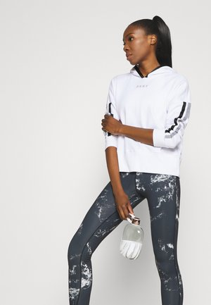 CROPPED DROP SHOULDER HOODIE - Mikina - white