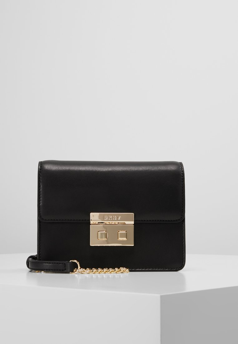 DKNY - ANN SHOULDER FLAP XBODY - Across body bag - black/gold