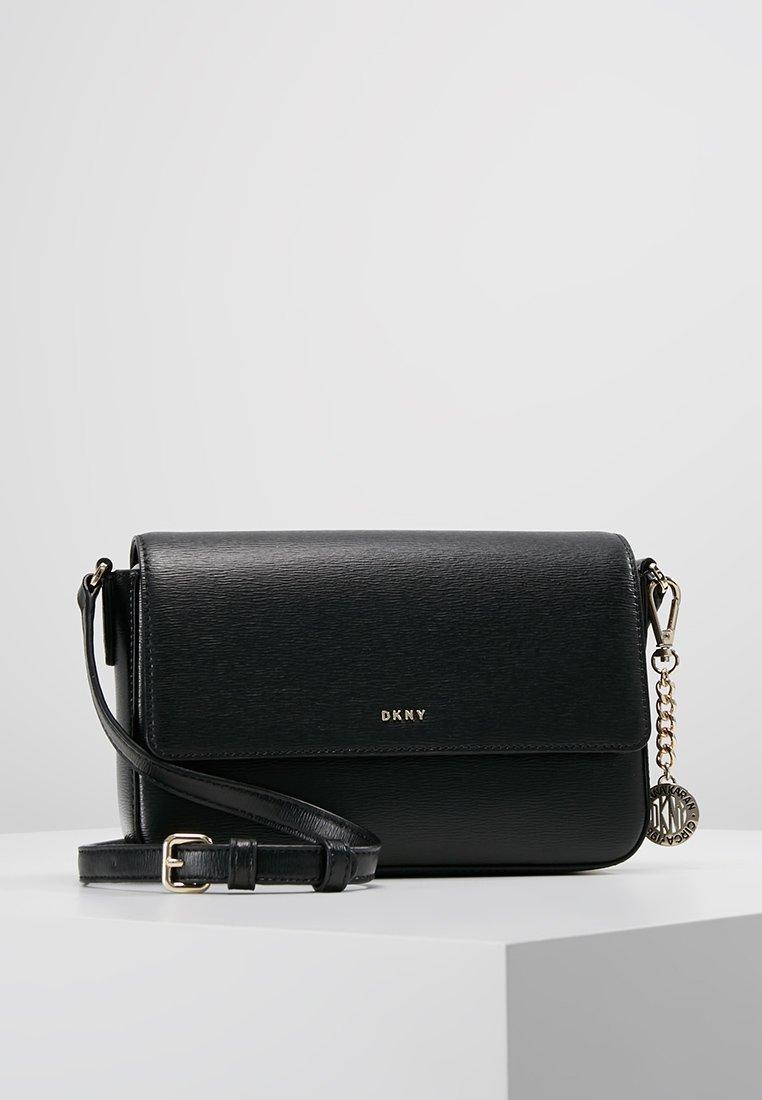 DKNY - BRYANT FLAP XBODY - Across body bag - black/gold