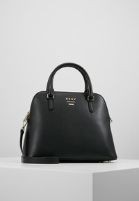 DKNY - WHITNEY LARGE DOME SATCHEL - Handtasche - black/gold - 0