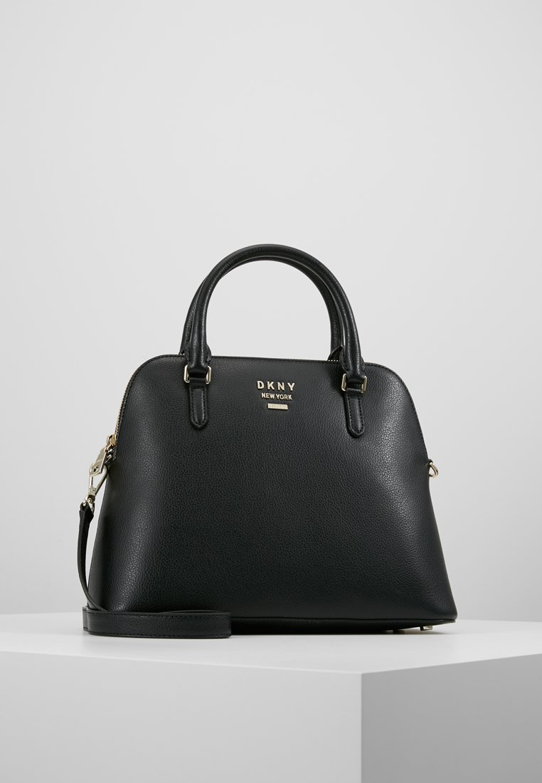 DKNY - WHITNEY LARGE DOME SATCHEL - Handtas - black/gold