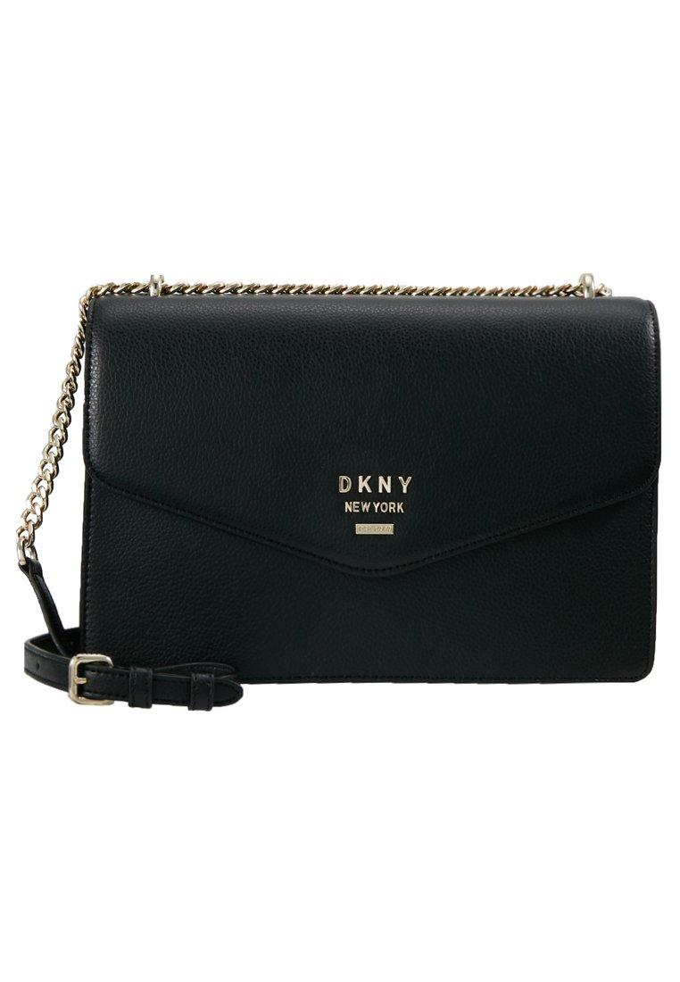 DKNY WHITNEY - LARGE DOME SATCHEL - Skulderveske - black/gold colored