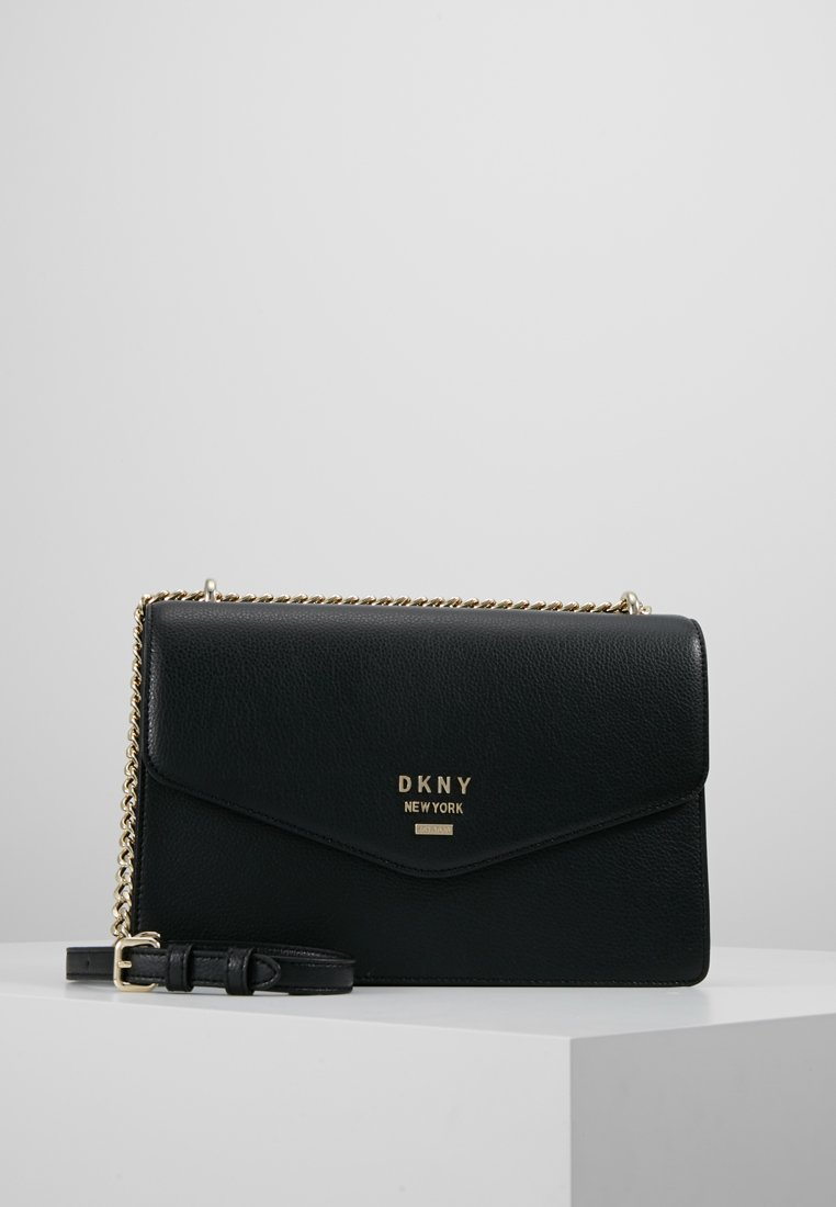 DKNY - WHITNEY SHOULDER FLAP PEBBLE - Across body bag - black/gold colored