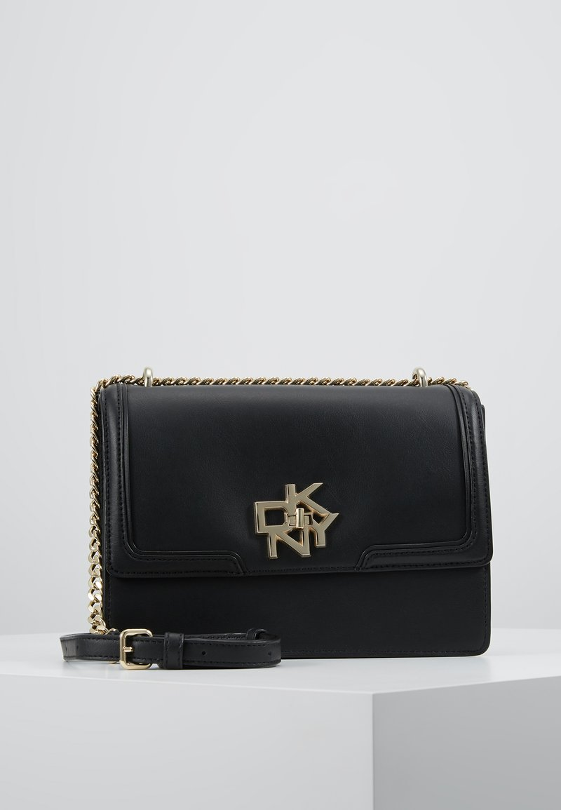 DKNY - CATHERINE MED SHOULDER FLAP - Umhängetasche - black/gold