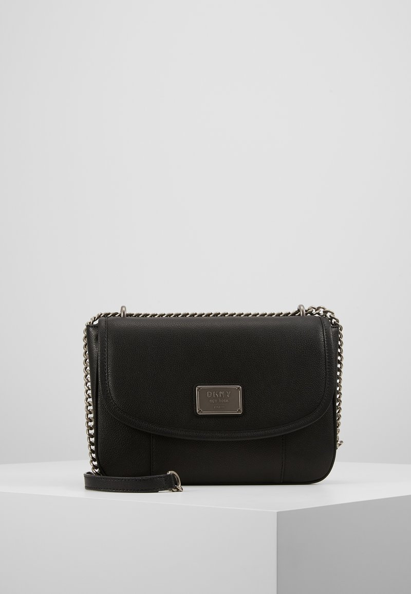 DKNY - COLUMBUS - SHOULDER FLAP - Sac à main - black silver