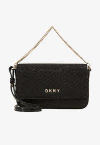 DKNY - ITEM DEMI FLAP CROSSBODY GLITTER - Across body bag - black/gold - 6