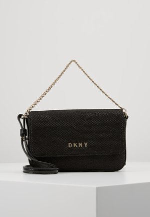 ITEM DEMI FLAP CROSSBODY GLITTER - Sac bandoulière - black/gold
