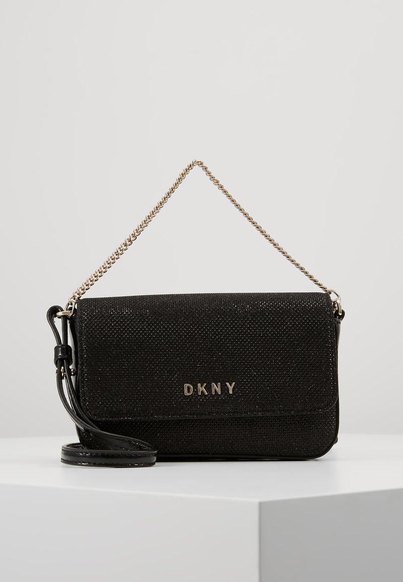 DKNY - ITEM DEMI FLAP CROSSBODY GLITTER - Across body bag - black/gold