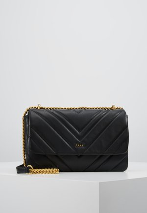 VIVIAN DOUBLE SHOULDER FLAP  - Bolso de mano - black/gold