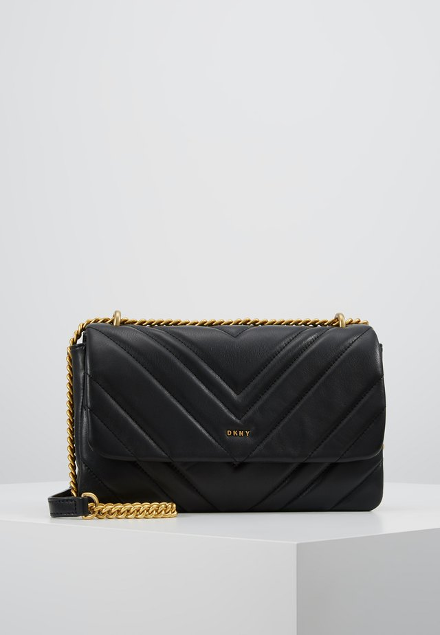 VIVIAN DOUBLE SHOULDER FLAP  - Handbag - black/gold