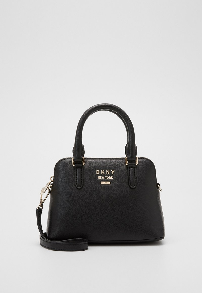 DKNY - WHITNEY MINI DOME SATCHEL - Handbag - black/gold